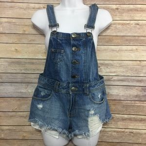 Hot Kiss Overall Short Denim Destroyed Distressed